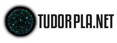 TudorPlanet Logo with a teal wireframe planet on a black fallout shade